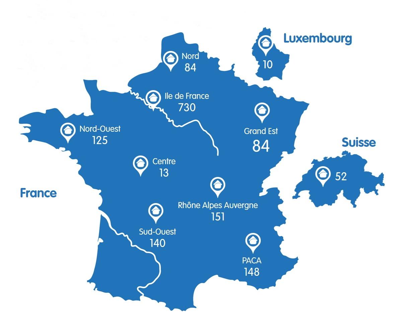 carte de France du réseau crèches